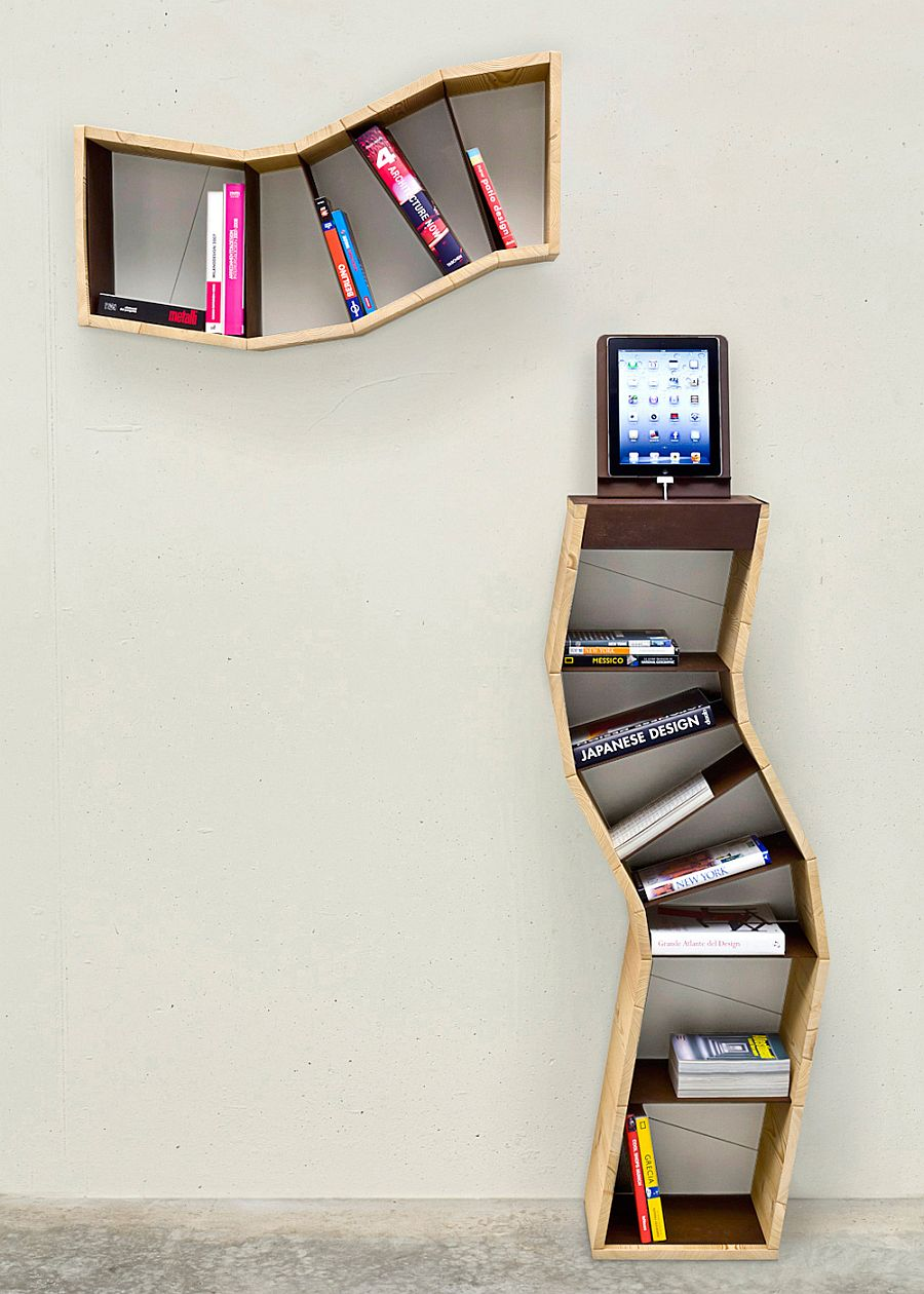 Gorgeous Bookshelf Design For Tidy Room Design : Unique Raccontoplurale Bookshelf Design Made From Wooden Material