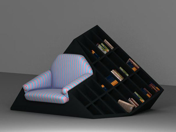 Bookshelf Design For Modern Interior Design: Unique Sofa Attractive Bookshelf Black Color Small Book