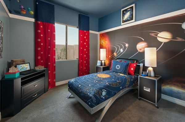 Unique Space Interior For Viavcious Look : Unique Solar System Kids Bedding And The Wallpaper Bring In Cosmos Into Kids Bedroom