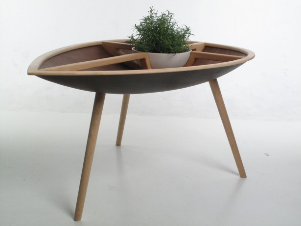 Intriguing Table And Chair Made From Well Done Handcraft Project: Unique Spire Table With Green Plant Growing In A Bowl ~ stevenwardhair.com Chairs Inspiration