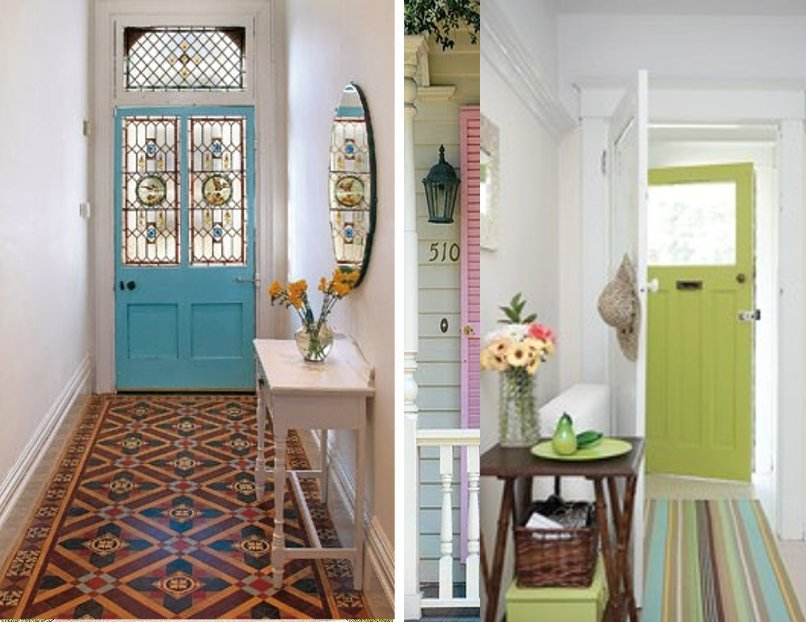 Fascinating Painted Doors Design To Equip Classic House Design : Unique Tribal Carpet Blue Painted Doors Design White Table Fake Flower
