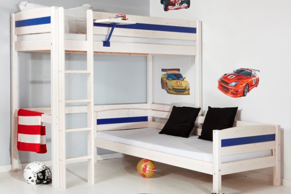 Simple L Shaped Bunk Beds For Small Bedroom Space : Uniue L Shaped Bunk Beds With Cars Wall Stickers