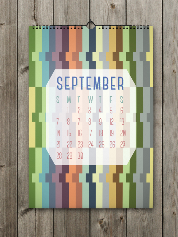 Unique Calendar Shape Designs With Colorful Ideas For 2014 : Unusual Abstract Pattern In September Calendar On The Wooden Wall