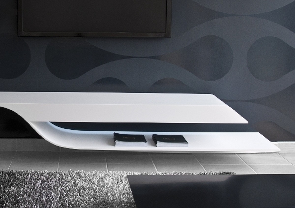 Futuristic TV Unit Design Supplied With Hidden Lights And Bookcase: Unusual TV Unit Design Cool Wallpaper Fur Rug Old Floor Tiles