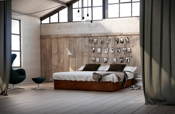 Utilitarian Eclectic Bedroom Photograph Feature Wall