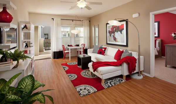 Pillow Scheme Idea To Beautify Your Space Design : Vibrant Splashes Of Red Grace This Modern Living Space
