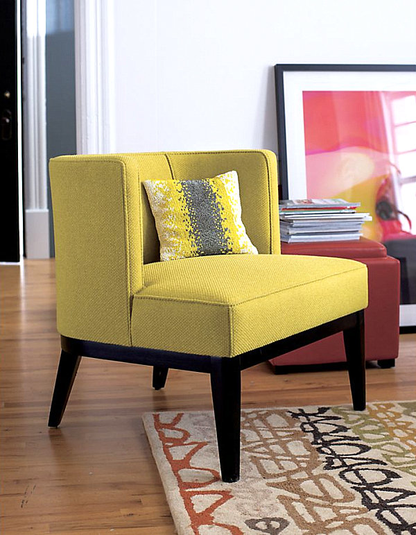 Fancy Colorful Sofa Design Comes With The Various Ideas: Vibrant Yellow Upholstered Chair