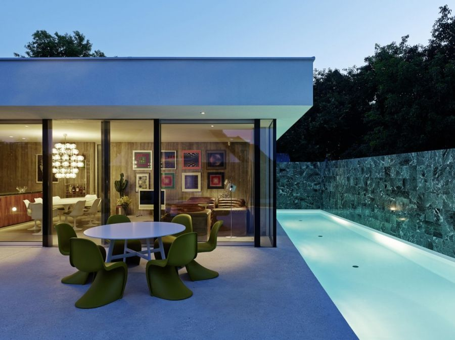 Contemporary Home Design: The A&B House In Austria : View Of The Indoors From The Backyard