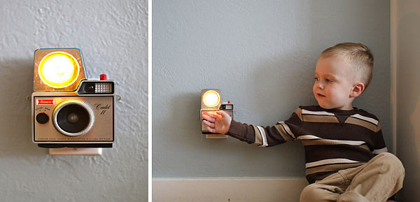 Creative DIY Lamp Design From Second Hand Items: Vintage Camera Turned Wall Lamp