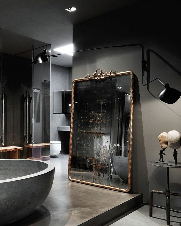 Attractive Mirror Wall Decor Creating The Elegant Interior : Vintage Rugged Bathroom Mirror With Classic Concrete Bath Tub