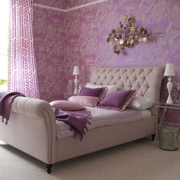 Amazing Headboard Designs For Contemporary Bedroom : Violet Walls And Lovely Decor Enhance The Beauty Of This Bed With Tufted Headboard