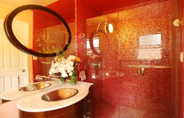Glass Shower Door For Bigger Impression : Vivid And Vivacious Bath Uses Red Tiles And Glass Shower Doors To Create An Asian Styled Bath