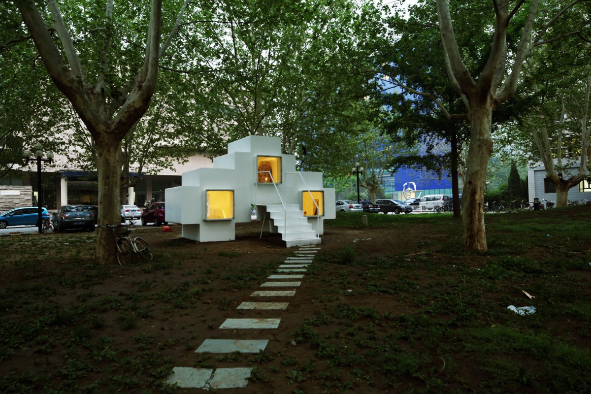 Beautiful Micro House For Small And Functional Residential Place : Walk Way As The Path Designed In White Theme