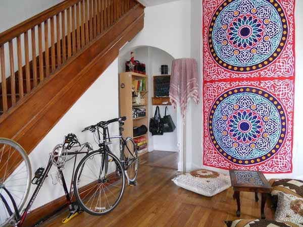 Bike Storage Ideas For Small House: Wall Decoration Wodden Stairs Bookshelf Motif Cushion ~ stevenwardhair.com Interior Design Inspiration