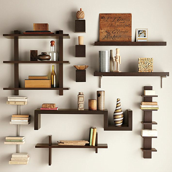 Modern Bookshelves With Different Unique Angle: Wall Mounted Grid Shelves