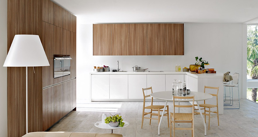 Enchanted Modern Kitchen In White : Warm Brown With White