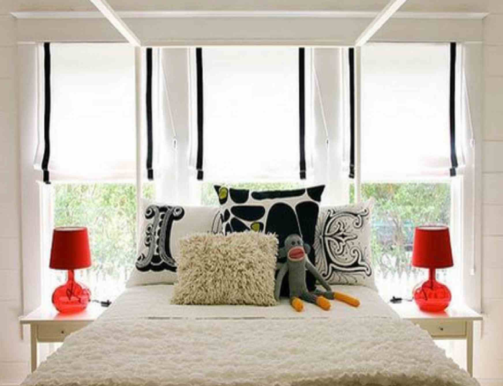 Futuristic Cool Interior Design With Wonderful Lightings: Warm Fur Quilt Cute Doll Cool Interior Design Red Table Lamps
