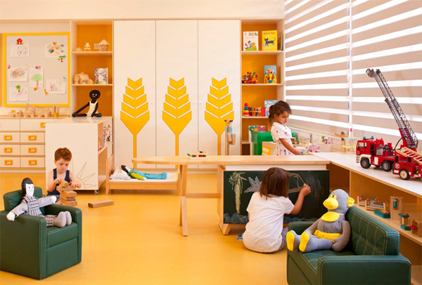 Fun Kids Space With Large Space: Warm Kids Room Decor Ideas With Blind Window And Yellow Tree Wall Decals ~ stevenwardhair.com Kids Room Inspiration