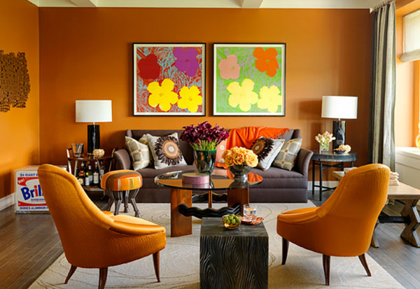 Lively Popular Arts Beautifying Modern Interior Look : Warm Living Room Decoration In Orange With Grey Sofa