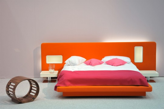 Make Large Your Room With Fresh Paint Colors For Small Bedrooms : Warm Orange Headboard Bedroom Paint Colors Idea