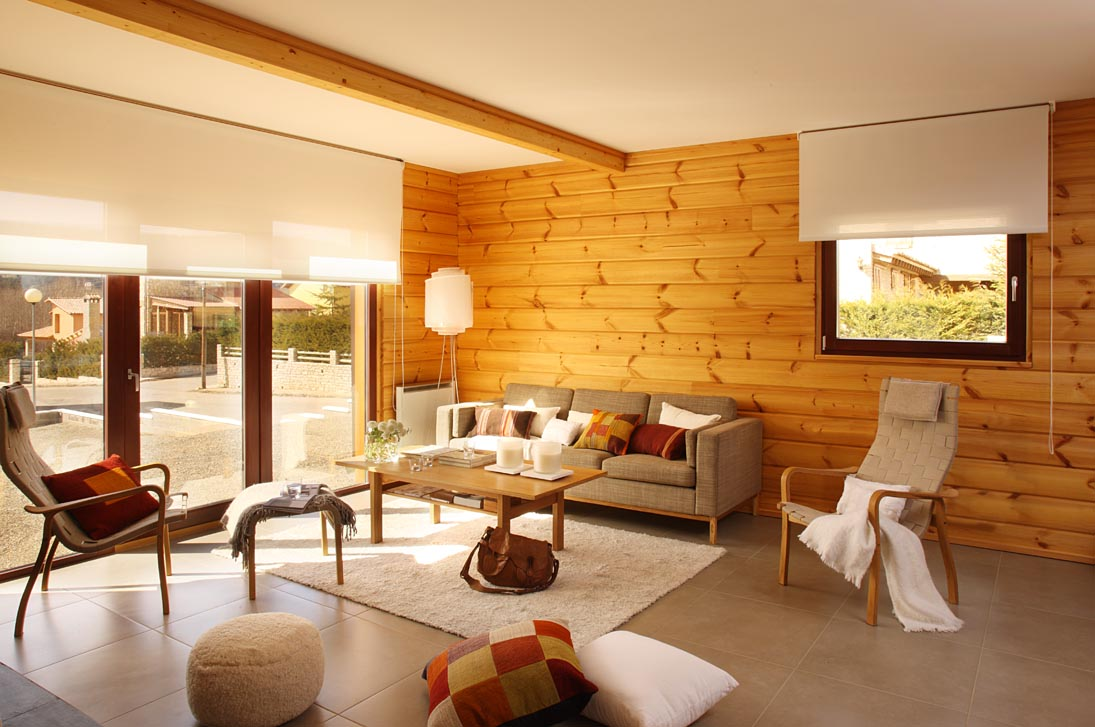 Amazing Designer Interiors; Great Projects: Warm Wood Wall Designer Interiors White Puff Wood Coffee Table