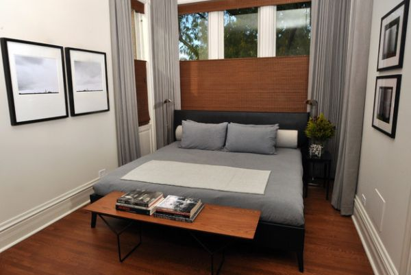 Modern Small Bedroom That So Beautiful: Warm Wooden Tones Combined With Soothing Gray In A Compact Bedroom