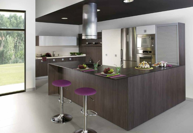Classy Kitchen That Make The Cut: Modern Version : Wenge Kitchen Cabinets Purple Bar Stools