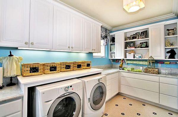 Wonderful Laundry Room With Smart Arrangement To Create Compact Environment: White And Blue Laundry Room Design