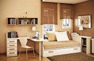 Amazing Small Space Paint Colors As A Trick For Cramped Home Interior : White And Taupe Brown Contemporary Bedroom Decorating Ideas
