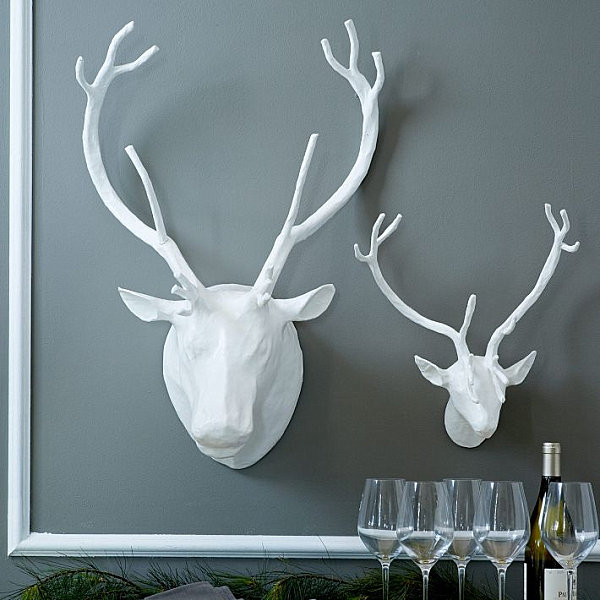 Mesmerizing Wall Decor: Dining Room Attraction : White Animal Sculptures At Grey Wall With Wine And Glasses