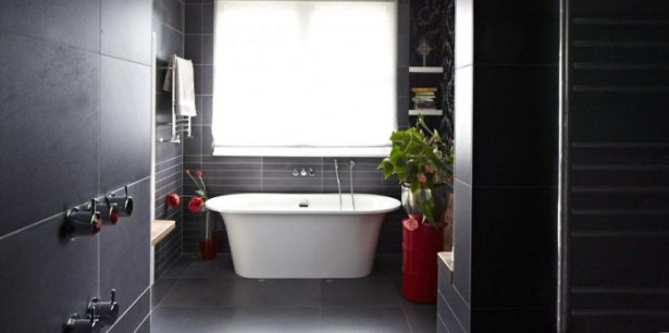 Modern Victorian Home Combining The Past And The Modern Era: White Bath Tub Red Pot Black Tiles Silver TapsWhite Towel ~ stevenwardhair.com Country Home Design Inspiration