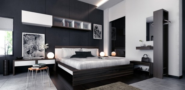 Chic Bedroom Ideas: Feature Walls For Decoration : White Black Brown Modern Bedroom Furniture