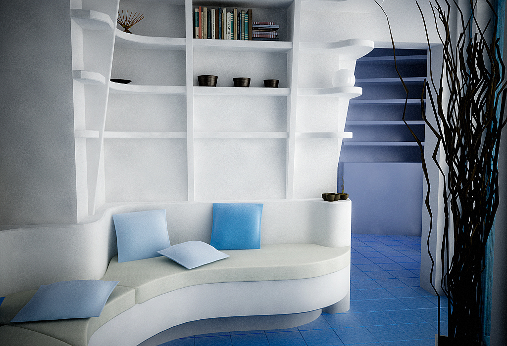 Mesmerizing Ideas For Minimalist Home Design: White Blue Living With Curvy Shaped White Sofa