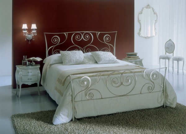 Elegant Wrought Iron Bed To Make Your Bed Looks More Beautiful: White Bontempi Macrame Wrought Iron Bed Against Brown Wall