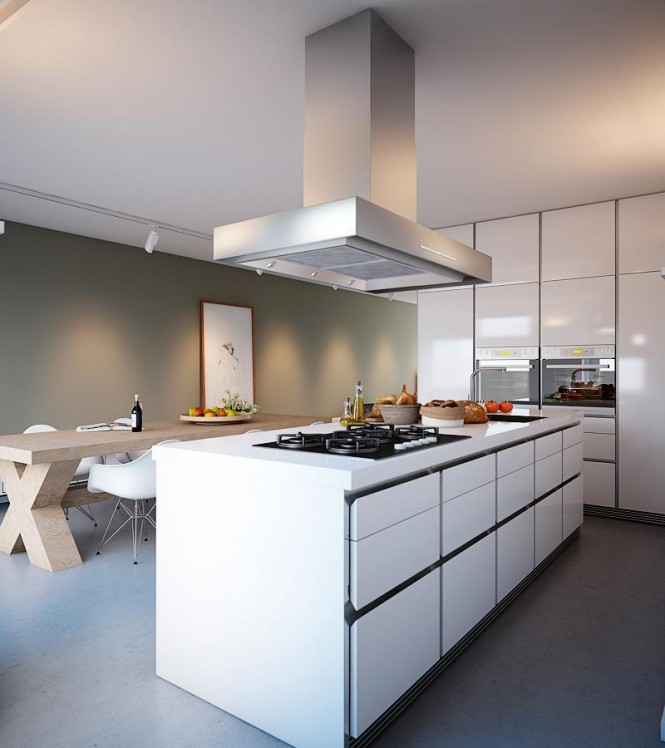 Beautiful Bright House Design Idea: White Gloss Kitchen Cabinet Chrome Chimney Light Bright Beautiful Home