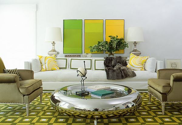Glamorous Living Room Design With Elegant Look: White Green And Yellow Living Room Looking Elegant