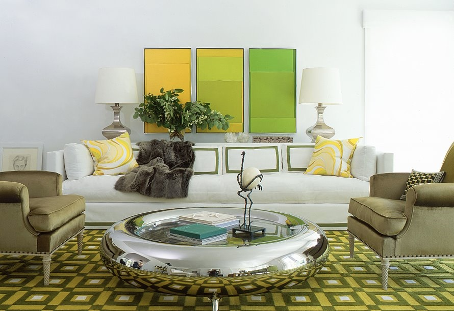 Exclusive Stunning White Living Rooms Ideas : White Green Yellow Chic Living Room