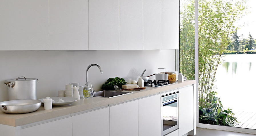 Enchanted Modern Kitchen In White: White Kitchen With Great Natural Lighting