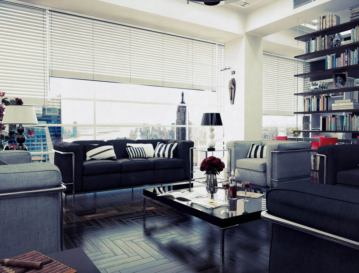 Casual Modern Living Rooms With Contemporary Minimalist Appearance: White Living Room Gray Sofas Suspended Shelving