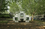 Beautiful Micro House For Small And Functional Residential Place : White Micro House Located In The Garden Area