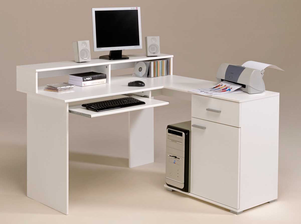 Minimalist Computer Desk For Better Productivity : White Modern Computer Desk Furniture Interior Design And Decorating