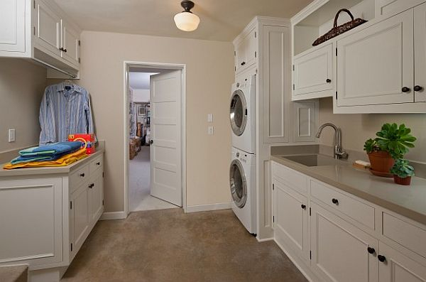 Wonderful Laundry Room With Smart Arrangement To Create Compact Environment: White Modern Laundry Room With Cupboards And Hanging Rack