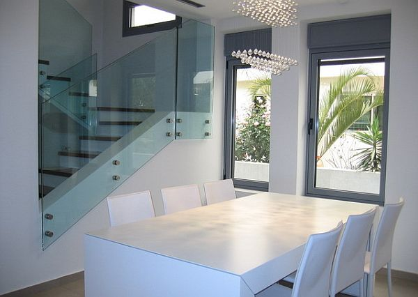 Stylish Dining Room Sticking Out Modesty Ideas In Your Home : White Modern Minimalist Dining Table