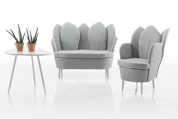 Astonishing Contemporary Chair Resembling The Blooming Flower: White Morning Dew Contemporary Chair And Sofa Design