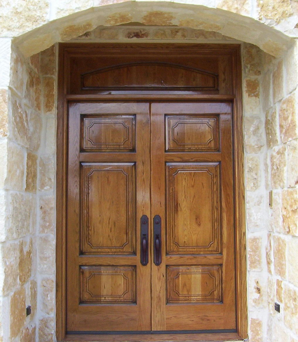Inspiring Double Entry Doors For Home With Clear Design: White Oak Double Entry Doors