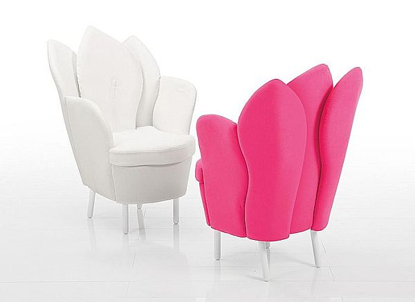 Astonishing Contemporary Chair Resembling The Blooming Flower: White Pink Leather Chair Morning Dew