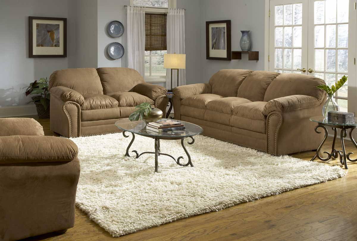 Brown Sofas For Classic Home Design : White Rugs Glass Table Brown Sofas Grey Wall