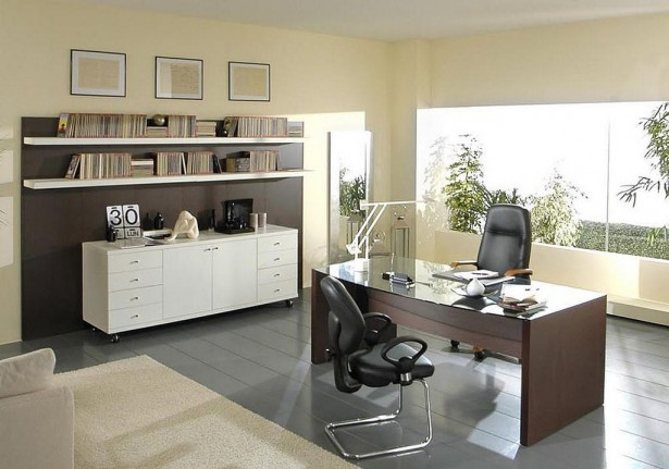 Inspirational Modern Home Office Design Ideas With Nice View: White Sideboard Modern Home Office Design Ideas Floating Shelves ~ stevenwardhair.com Office & Workspace Design Inspiration