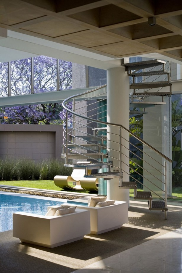 Beautiful Extra Luxurious Home In Your Mind: White Sofa And Cushions Face The Infinity Pool Near White Pillars ~ stevenwardhair.com Luxury Home Design Inspiration