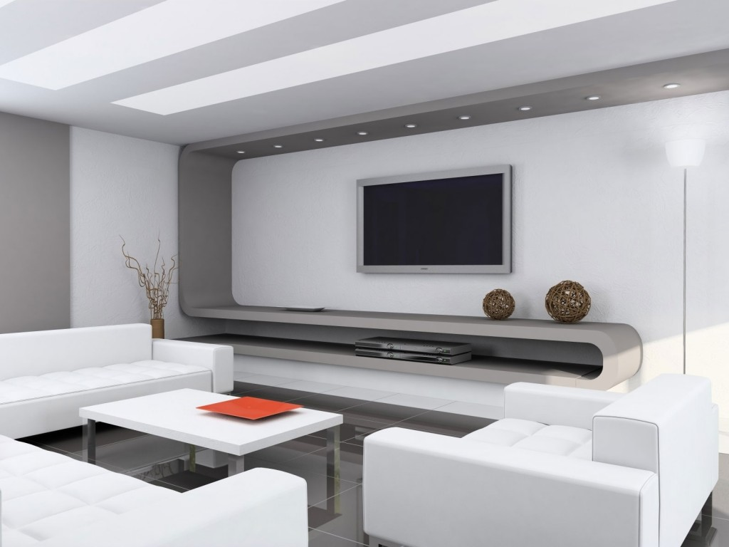 Spacious Modern Home Interior Design For Living Room : White Sofa Coffee Table Modern Home Interior Design